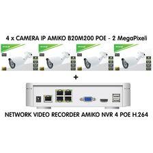 Kit supraveghere 4 camere Video IP POE - 2MP - receptoare.ro