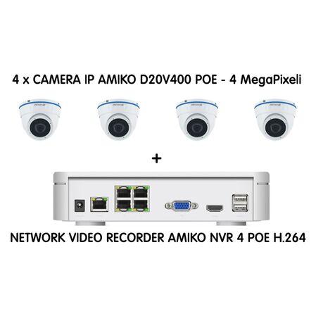 Kit sistem de supraveghere 4 camere Video IP POE - 5MP - receptoare.ro